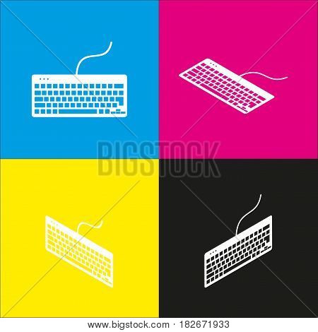 Keyboard simple sign. Vector. White icon with isometric projections on cyan, magenta, yellow and black backgrounds.