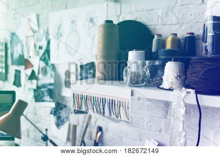 Many materials for cloths designing dressmaker