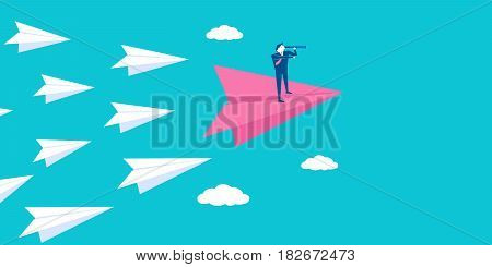 businessman stand on paper airplane on blue background