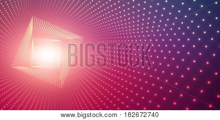 Vector infinite square twisted tunnel of shining flares on violet background. Glowing points form tunnel. Abstract cyber colorful background. Elegant modern geometric wallpaper. Shining points swirl