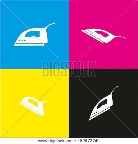 Smoothing Iron sign. Vector. White icon with isometric projections on cyan, magenta, yellow and black backgrounds.