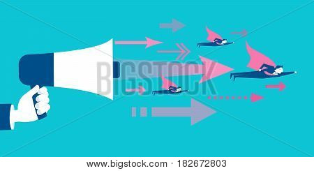 hand take microphone with leadership concept on blue background