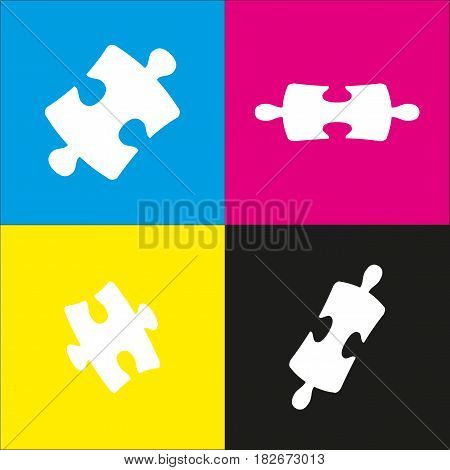 Puzzle piece sign. Vector. White icon with isometric projections on cyan, magenta, yellow and black backgrounds.
