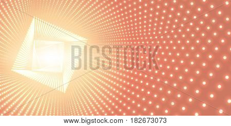 Vector infinite square twisted tunnel of shining flares on orange background. Glowing points form tunnel. Abstract cyber colorful background. Elegant modern geometric wallpaper. Shining points swirl
