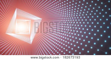 Vector infinite square twisted tunnel of shining flares on blue background. Glowing points form tunnel. Abstract cyber colorful background. Elegant modern geometric wallpaper. Shining points swirl.