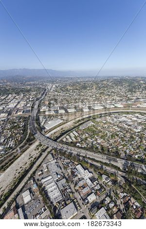Aerial view of the Glendale Freeway and Los Angeles River in Southern California.