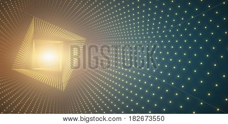 Vector infinite square twisted tunnel of shining flares on green background. Glowing points form tunnel. Abstract cyber colorful background. Elegant modern geometric wallpaper. Shining points swirl.
