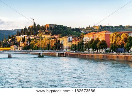 Facades Of Old Houses On Waterfront Of The Adige River In Verona