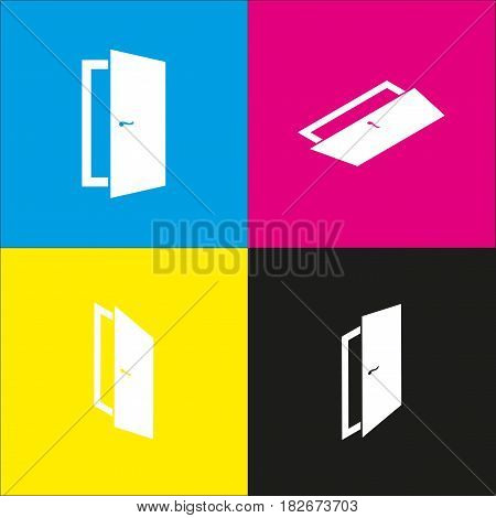 Door sign illustration. Vector. White icon with isometric projections on cyan, magenta, yellow and black backgrounds.