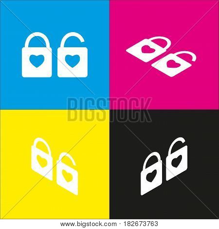 lock sign with heart shape. A simple silhouette of the lock. Shape of a heart. Vector. White icon with isometric projections on cyan, magenta, yellow and black backgrounds.