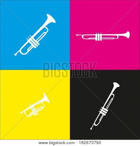 Musical instrument Trumpet sign. Vector. White icon with isometric projections on cyan, magenta, yellow and black backgrounds.