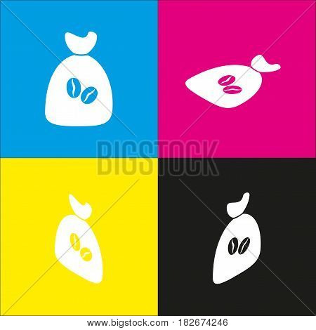 Coffee bag Icon. Coffee bag. Vector. Coffee bag Icon Button. Vector. White icon with isometric projections on cyan, magenta, yellow and black backgrounds.