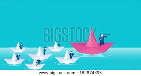 business people with leadership concept on blue background