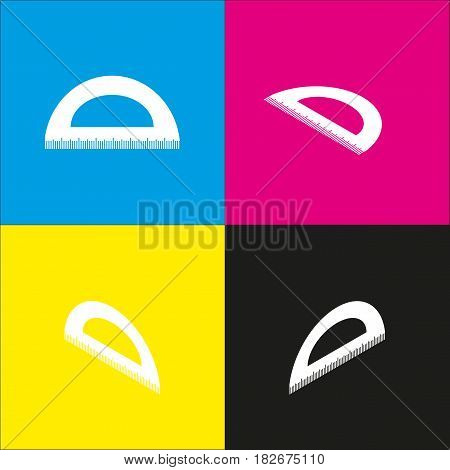 Ruler sign illustration. Vector. White icon with isometric projections on cyan, magenta, yellow and black backgrounds.