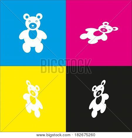 Teddy bear sign illustration. Vector. White icon with isometric projections on cyan, magenta, yellow and black backgrounds.