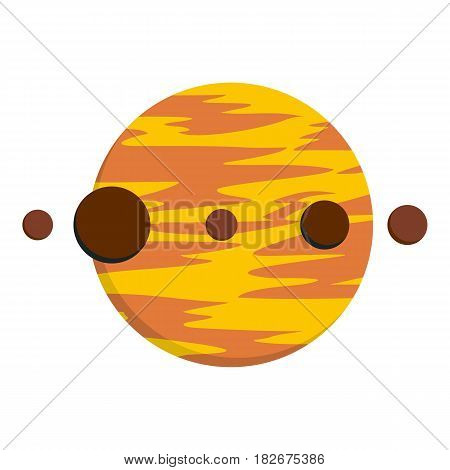 Planet and moons icon flat isolated on white background vector illustration