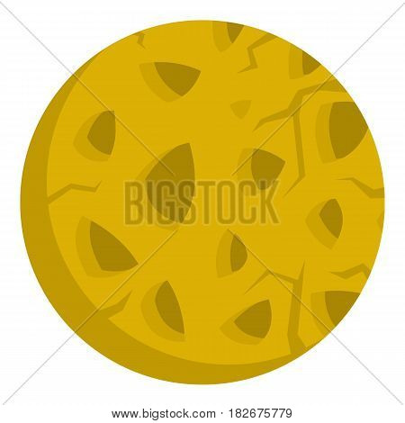Rocky planet icon flat isolated on white background vector illustration