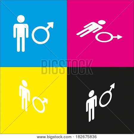 Male sign illustration. Vector. White icon with isometric projections on cyan, magenta, yellow and black backgrounds.