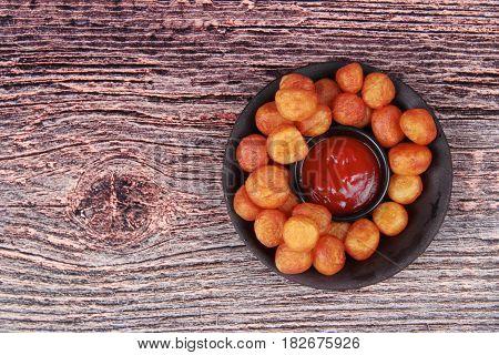 Fried Mashed Potato Balls Recipe ,dauphine Potato With Tomato Sauce.