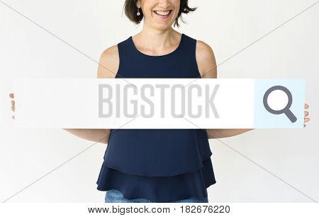 Woman Hold Search Box Magnifying Glass