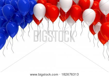 Red, white, and blue balloons background - 3d render