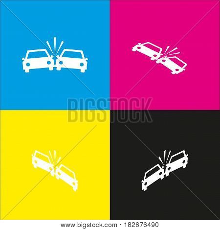 Crashed Cars sign. Vector. White icon with isometric projections on cyan, magenta, yellow and black backgrounds.