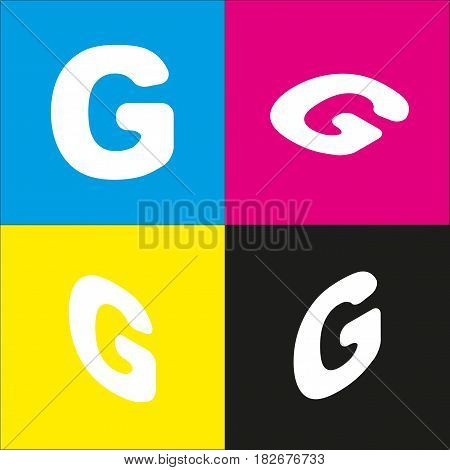 Letter G sign design template element. Vector. White icon with isometric projections on cyan, magenta, yellow and black backgrounds.