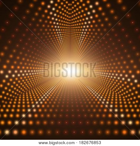 Vector infinite triangular tunnel of shining flares on dark brown background. Glowing points form tunnel sectors. Abstract cyber colorful background for your design. Elegant modern geometric wallpaper
