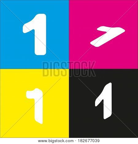 Number 1 sign design template element. Vector. White icon with isometric projections on cyan, magenta, yellow and black backgrounds.