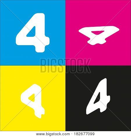 Number 4 sign design template element. Vector. White icon with isometric projections on cyan, magenta, yellow and black backgrounds.