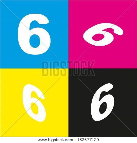 Number 6 sign design template element. Vector. White icon with isometric projections on cyan, magenta, yellow and black backgrounds.