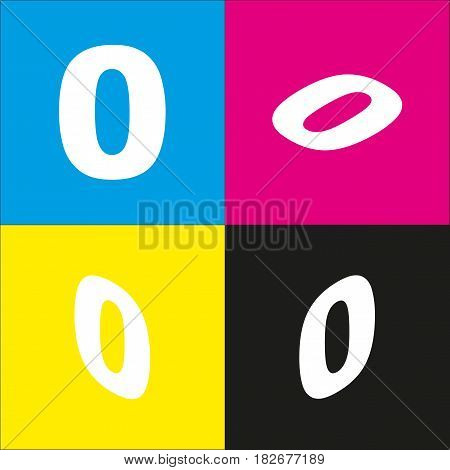 Number 0 sign design template element. Vector. White icon with isometric projections on cyan, magenta, yellow and black backgrounds.