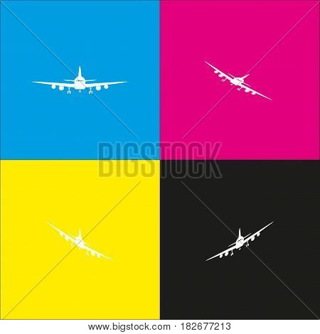 Flying Plane sign. Front view. Vector. White icon with isometric projections on cyan, magenta, yellow and black backgrounds.