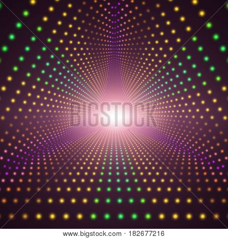 Vector infinite triangular tunnel of shining flares on dark background. Glowing points form tunnel sectors. Abstract cyber colorful background for your designs. Elegant modern geometric wallpaper.