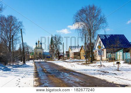 The village of Gorica Shuyskiy rayon Ivanovskaya oblast Russia 2017. A Sunny spring day.