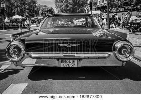 BERLIN - JUNE 05 2016: Personal luxury car Ford Thunderbird (third generation). Lowrider. Rear view. Black and white. Classic Days Berlin 2016.