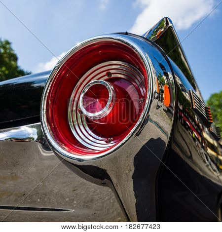 BERLIN - JUNE 05 2016: Stoplight of a personal luxury car Ford Thunderbird (third generation). Close-up. Classic Days Berlin 2016.
