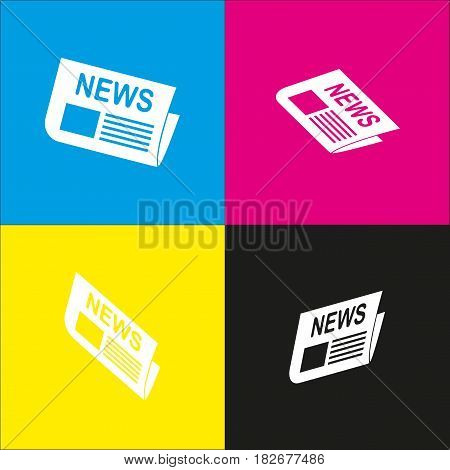 Newspaper sign. Vector. White icon with isometric projections on cyan, magenta, yellow and black backgrounds.