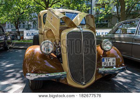 BERLIN - JUNE 05 2016: Vintage pickup Ford V8 Model 85 1938. Classic Days Berlin 2016.