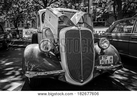 BERLIN - JUNE 05 2016: Vintage pickup Ford V8 Model 85 1938. Black and white. Classic Days Berlin 2016.