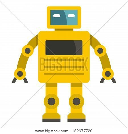 Yellow humanoid robot icon flat isolated on white background vector illustration