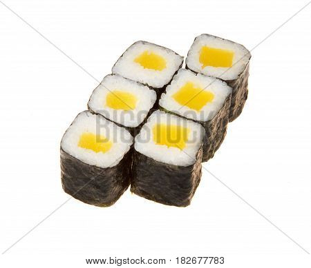 A sushi roll set with nori on white background