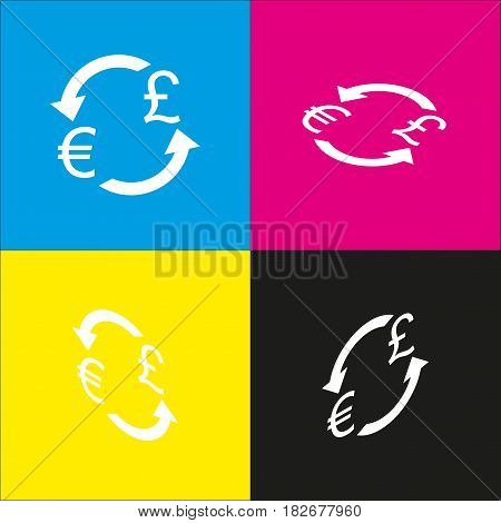 Currency exchange sign. Euro and UK Pound. Vector. White icon with isometric projections on cyan, magenta, yellow and black backgrounds.