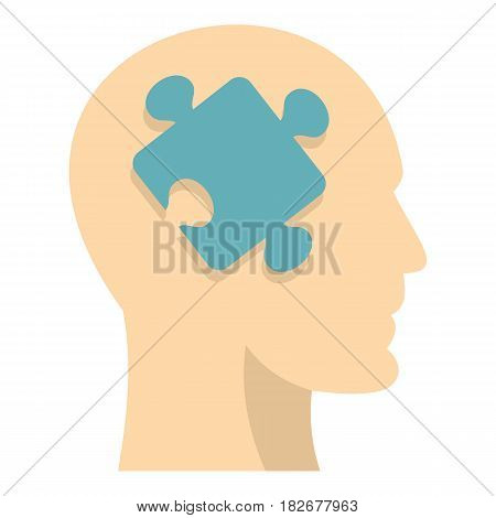 Head silhouette with jigsaw puzzle icon flat isolated on white background vector illustration