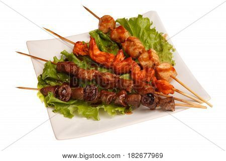 Barbecued chicken - yakitori isolated on white