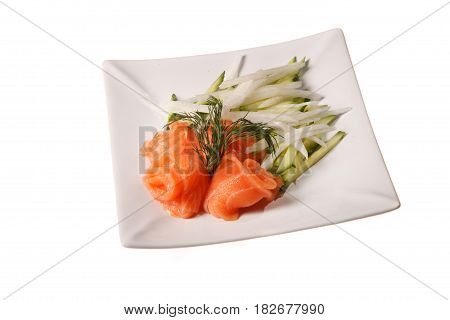 Salmon appetizer on plate isolated on white