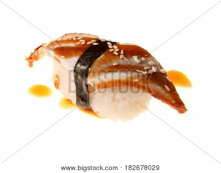 Japanese seafood sushi with Unagi Eel on white background