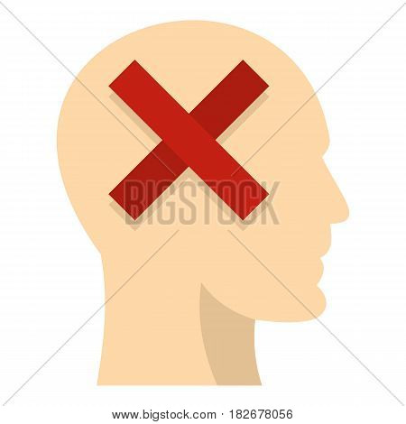 Man head silhouette with red cross inside icon flat isolated on white background vector illustration