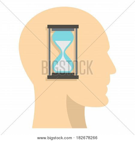 Sandglass inside a man head icon flat isolated on white background vector illustration