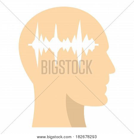 Profile of the head with sound wave inside icon flat isolated on white background vector illustration